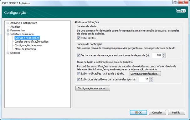 Nod32 ea config alert Alertas e notificações