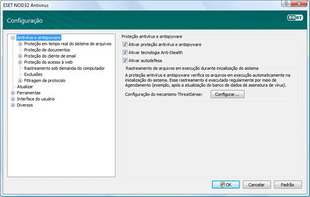 Nod32 ea config antivirus Proteção antivírus e anti spyware   Configuração