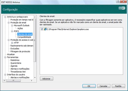 Nod32 ea config epfw email client Clientes de e mail