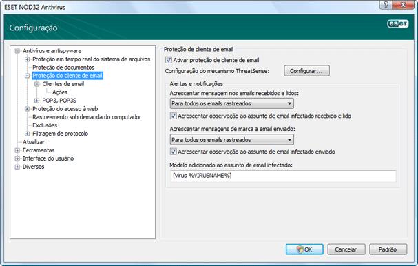 Nod32 ea config mail Proteção de email