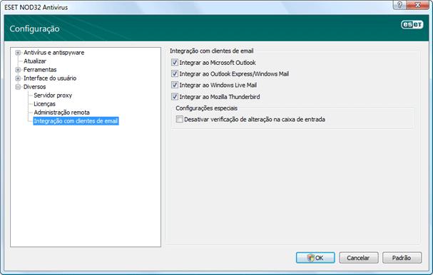 Nod32 ea config mailplugins Integração com clientes de email