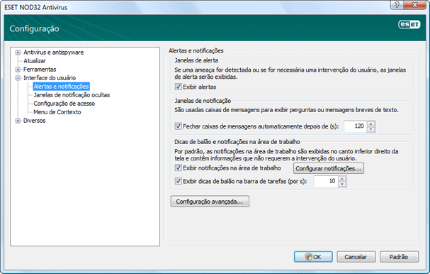 Nod32 ea config notice Alertas e notificações
