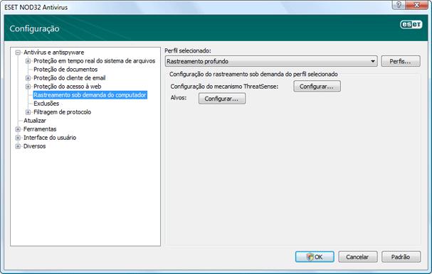 Nod32 ea config scan Verificação de computador sob demanda