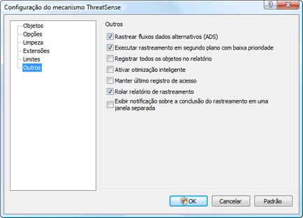 Nod32 ea config scanner scan Configuração de verificação