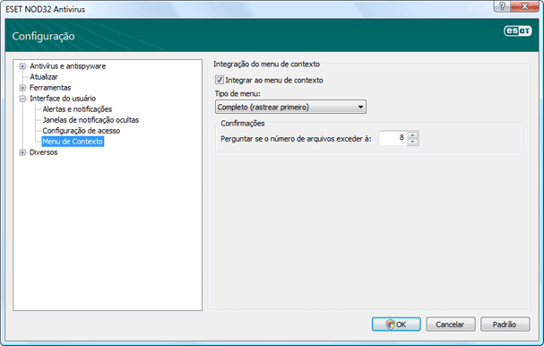 Nod32 ea config shellext Context menu