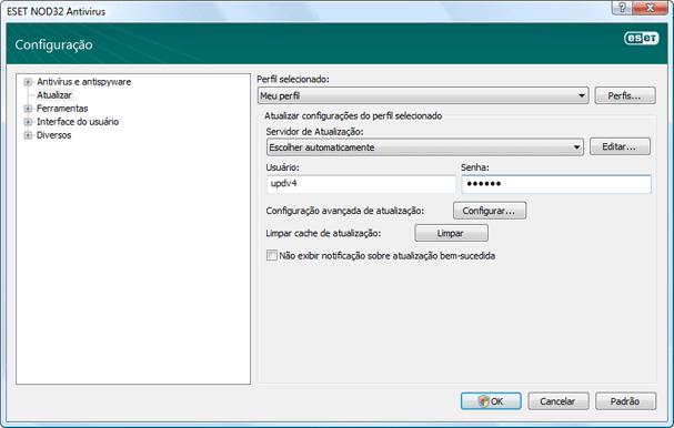 Nod32 ea config update source Configuração da atualização