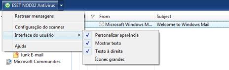 Nod32 ea oe toolbar Barra de ferramentas do Outlook Express e do Windows Mail