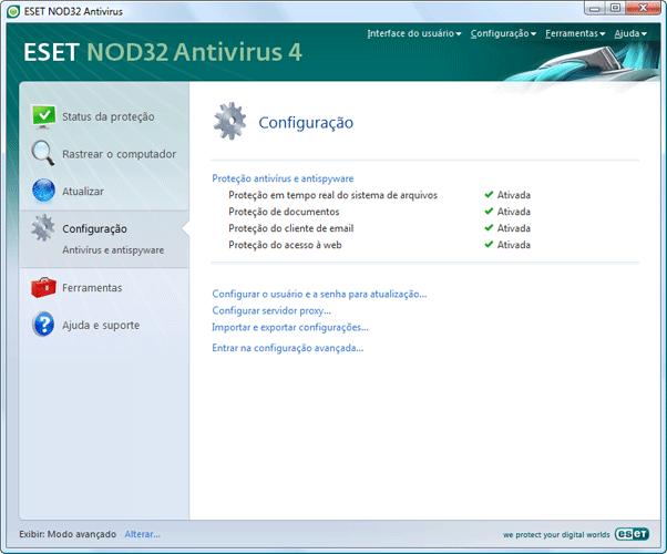 Nod32 ea page advanced settings Configuração   Modo avançado