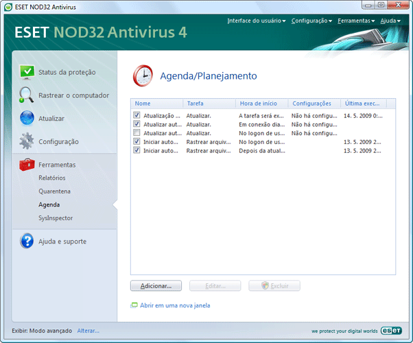 Nod32 ea page scheduler Agendador
