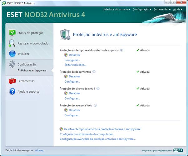 Nod32 ea page settings antivirus Configuração   Modo avançado