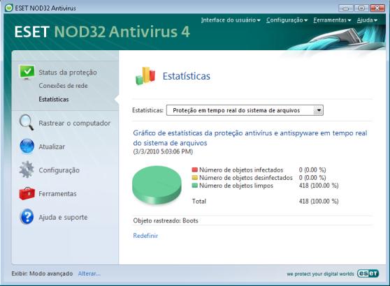 Nod32 ea page status antivirus Status da proteção antivírus