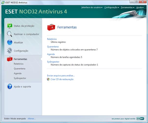 Nod32 ea page tools Ferramentas