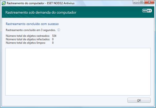 Nod32 ea scan finishwindow Verificação concluída com êxito