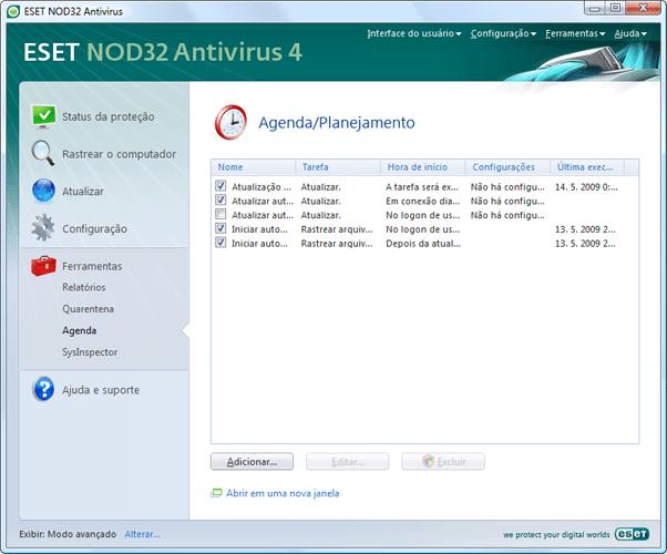 Nod32 ea scheduler info Informações do agendador