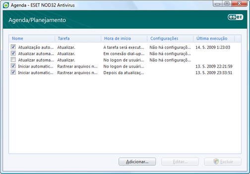 Nod32 ea scheduler window Agendador   nova janela