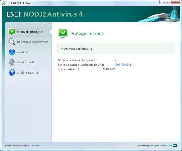 Nod32 ea simple mode Verificação da operação do sistema