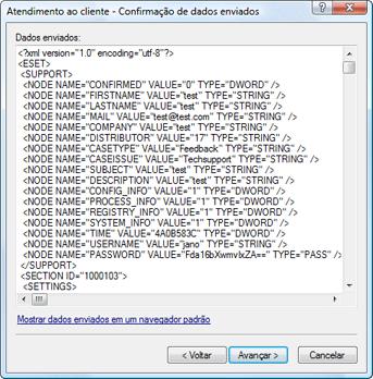 Nod32 ea support detect Confirmação dos dados enviados