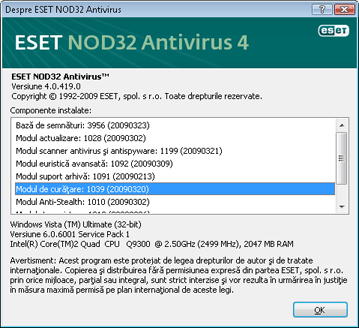 Nod32 ea about Despre ESET NOD32 Antivirus