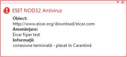 Nod32 ea antivirus behavior and user interaction Comportamentul protecţiei antivirus şi interacţiunea cu utilizatorul
