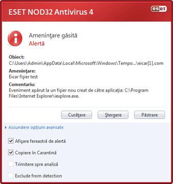 Nod32 ea antivirus behavior and user interaction 01 Comportamentul protecţiei antivirus şi interacţiunea cu utilizatorul