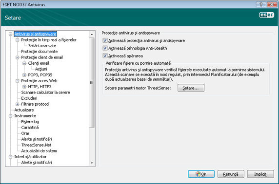 Nod32 ea config antivirus Protecţie antivirus şi antispyware   Setare