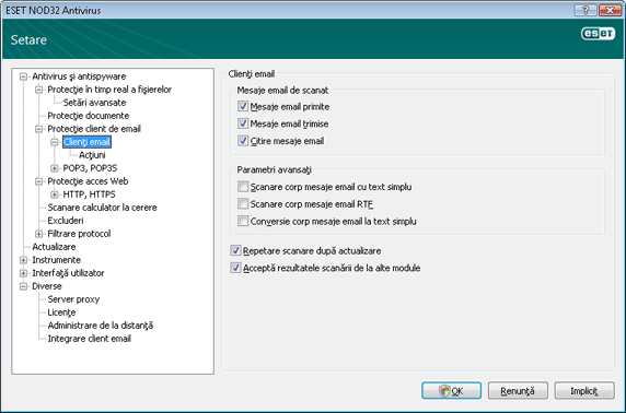 Nod32 ea config emon scan Protecţie email