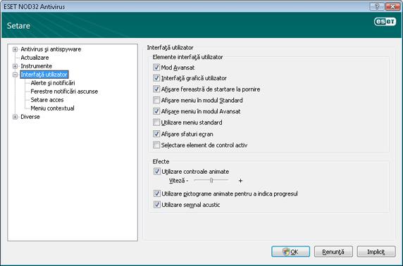 Nod32 ea config environment Interfaţă utilizator