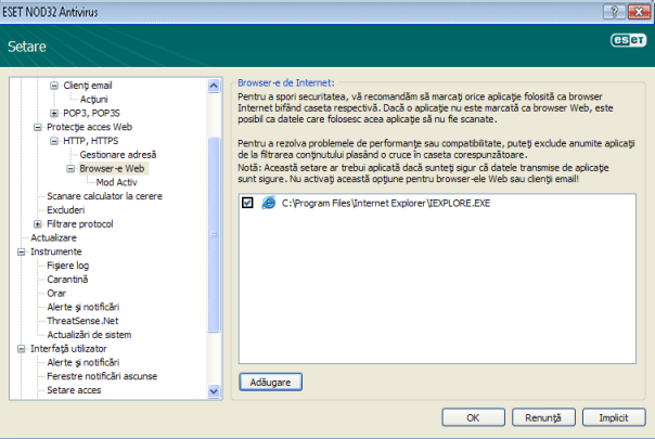 Nod32 ea config epfw browsers Browser e Internet