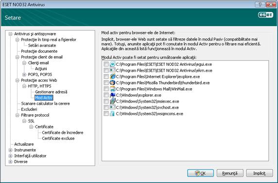 Nod32 ea config epfw browsers mode Mod Activ pentru browser e Internet
