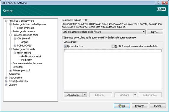Nod32 ea config epfw scan http excludelist Gestionare adresă HTTP