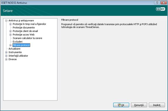 Nod32 ea config epfw scan main page Filtrare protocol