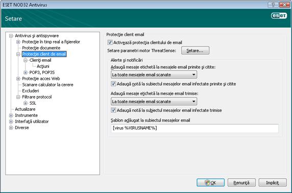 Nod32 ea config mail Protecţie client email