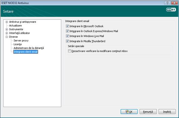 Nod32 ea config mailplugins Integrare client email