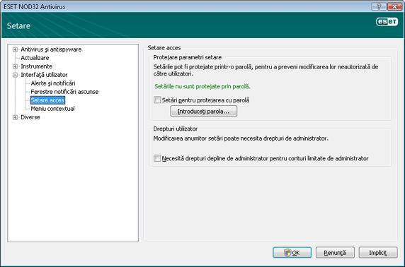 Nod32 ea config password Setările protecţiei