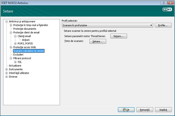 Nod32 ea config scan Scanare computer la cerere