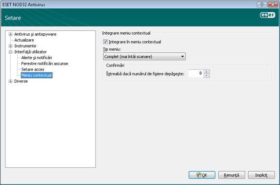 Nod32 ea config shellext Meniu contextual