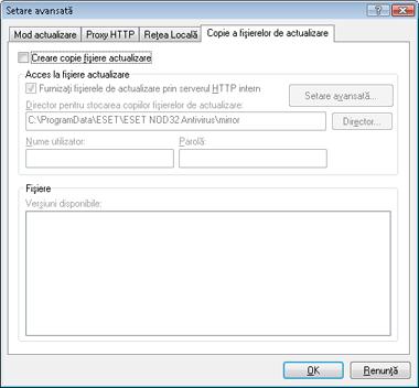 Nod32 ea config update mirror Creare copii actualizare   oglindă