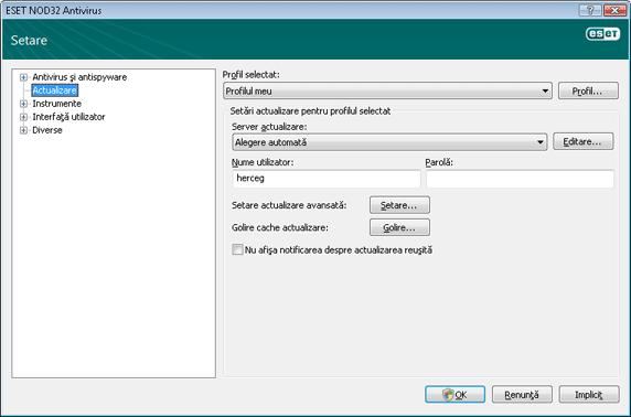 Nod32 ea config update source Setare actualizare