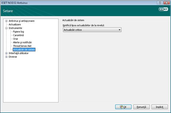 Nod32 ea config windows update Actualizare sistem de operare   setări