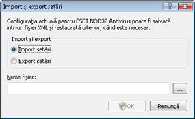 Nod32 ea importexport config Import şi export setări