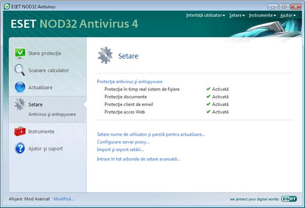 Nod32 ea page advanced settings Setare   Mod Avansat