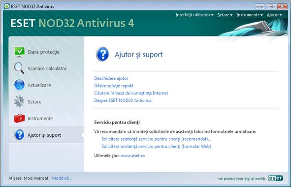 Nod32 ea page help Ajutor şi suport