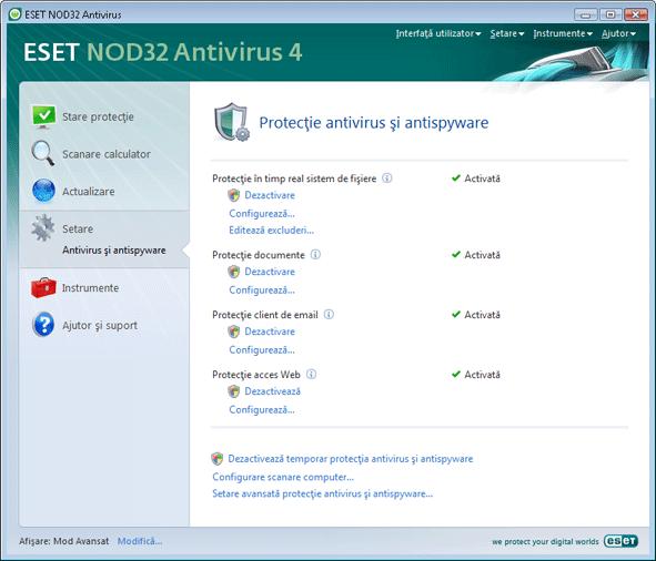 Nod32 ea page settings antivirus Setare   Mod Avansat