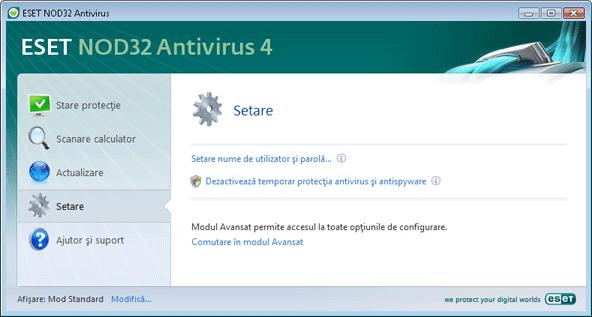 Nod32 ea page simple settings Setare   Mod Standard