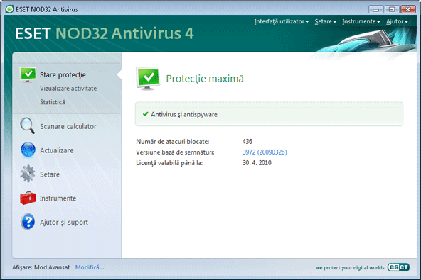 Nod32 ea page status Stare protecţie