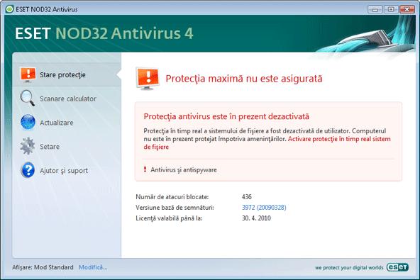 Nod32 ea page status 02 Ce este de făcut dacă programul nu funcţionează corect