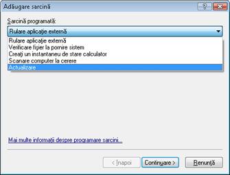 Nod32 ea scheduler task Creare sarcini noi