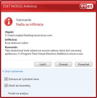 Nod32 ea antivirus behavior and user interaction 01 Správanie antivírusovej ochrany a interakcia s užívateľom