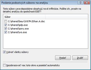Nod32 ea charon confirm Poslanie podozrivých súborov na analýzu