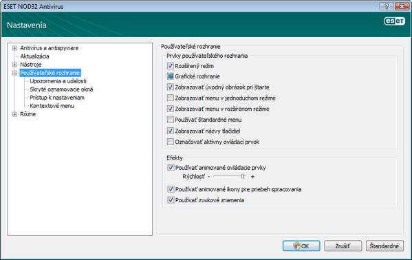 Nod32 ea config environment Používateľské rozhranie